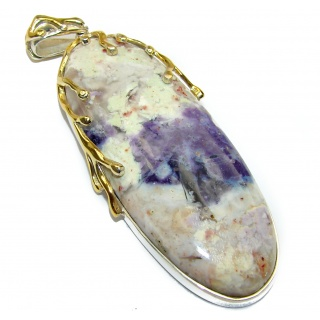 Amazing Beauty Tiffany Jasper 18K Gold over .925 Sterling Silver handmade Pendant