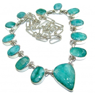 Incredible Green Emerald .925 Sterling Silver necklace