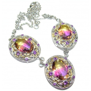 Royal Quality Oval cut Ametrine 18K Gold over .925 Sterling Silver handcrafted necklace