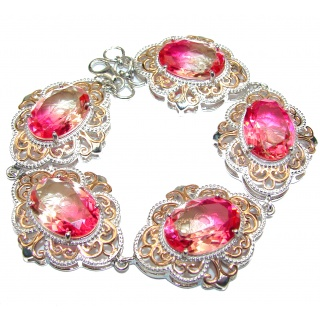 Luxury Volcanic Pink Tourmaline color Topaz 18K Gold over .925 Sterling Silver handmade Bracelet