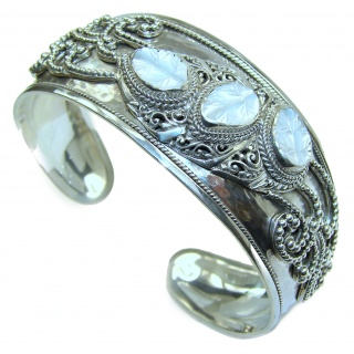 Beautiful Flower Design authentic Blister Pearl .925 Sterling Silver Bali Made Bracelet / Cuff