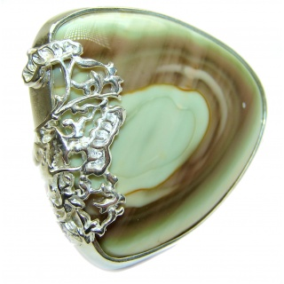 Oversized! Genuine Imperial Jasper .925 Sterling Silver handcrafted ring s. 7 adjustable