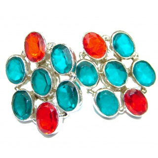 Multicolor simulated Gemstones .925 Sterling Silver handcrafted earrings