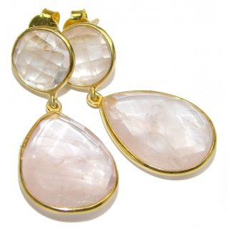 Authentic faceted Rose Quartz 18K Gold over .925 Sterling Silver handmade earrings