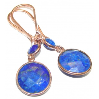 Outstanding Sublime Blue Lapis Lazuli 14K Gold over Sterling Silver earrings