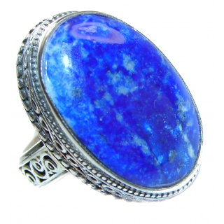 Natural Lapis Lazuli .925 Sterling Silver handcrafted ring size 8