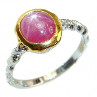 Genuine 2 ctw Star Ruby 2 tones .925 Sterling Silver handcrafted Statement Ring size 7