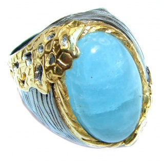 Genuine Aquamarine 14K Gold over .925 Sterling Silver handmade Cocktail Ring s. 9 3/4