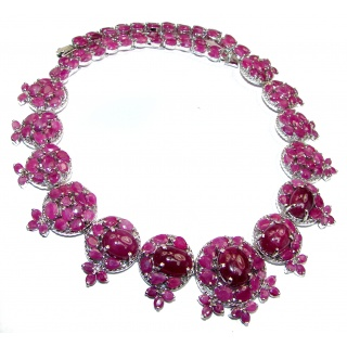 Red Ivy HUGE authentic Kashmir Ruby .925 Sterling Silver handcrafted necklace