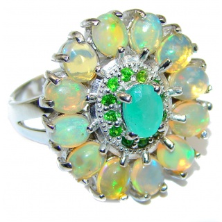 Fancy Ethiopian Opal Emerald .925 Sterling Silver handcrafted ring size 8 1/4