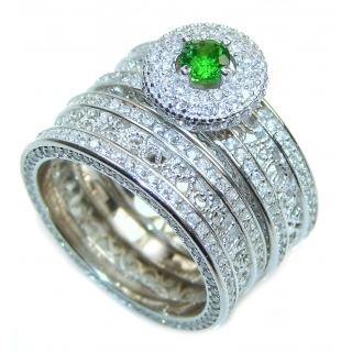 Spectacular authentic Emerald .925 Sterling Silver stack up ring; s. 7 1/2