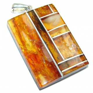 Natural Baltic Amber and Bamboo Wood .925 Sterling Silver handmade Pendant