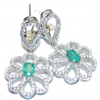 Melissa Authentic Emerald .925 Sterling Silver handmade earrings