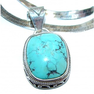 Chic Boho Style Turquoise .925 Sterling Silver statement necklace