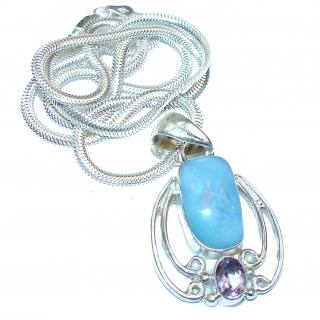 One of the kind Doublet Opal .925 Sterling Silver handmade necklace