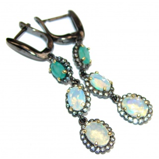 Dazzling natural Precious Ethiopian Fire Opal 14K Gold over .925 handcrafted earrings