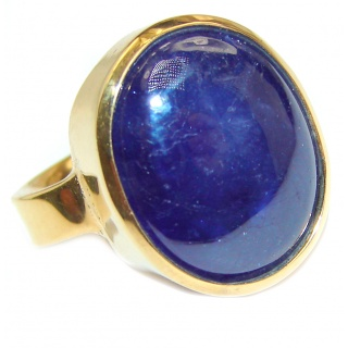 Large Genuine 35ctw Sapphire 18K Gold over .925 Sterling Silver handcrafted Statement Ring size 5