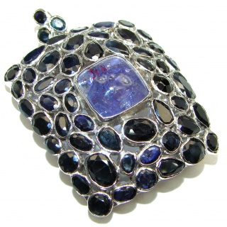 Large Beauty genuine Tanzanite Sapphire .925 Sterling Silver handmade Pendant - Brooch