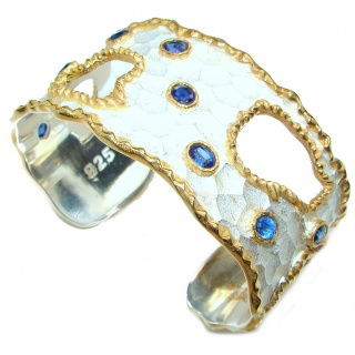 Bracelet with Kyanite & Diamonds 24K gold and Silver in Antique White Patina