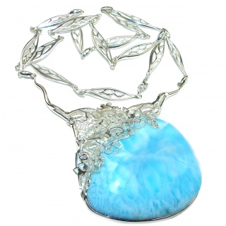 Glorious Huge Vintage Design Best quality authentic Larimar .925 Sterling Silver handmade necklace