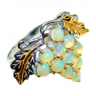 Sweet Grapes Ethiopian Opal 18k Gold over .925 Sterling Silver handcrafted ring size 8 3/4