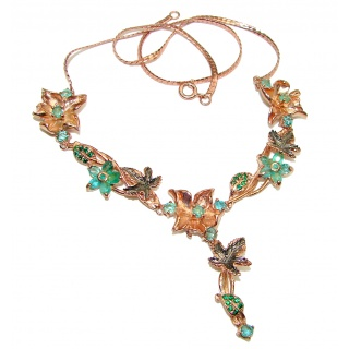 Stella Vintage look authentic Emerald rose Gold over .925 Sterling Silver handcrafted necklace