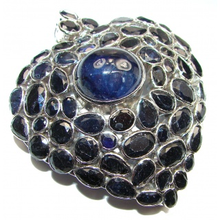 Large Heart genuine Sapphire .925 Sterling Silver handmade Pendant - Brooch