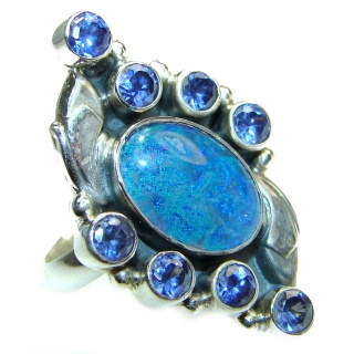 Vintage Design Australian Doublet Opal .925 Sterling Silver handcrafted ring size 8