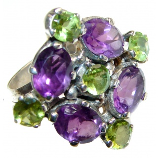 Energizing genuine Peridot & Amethyst .925 Sterling Silver handcrafted Ring size 8