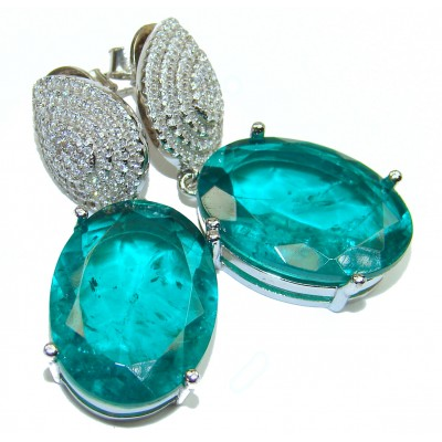 Incredible Beauty Emerald .925 Sterling Silver handmade earrings