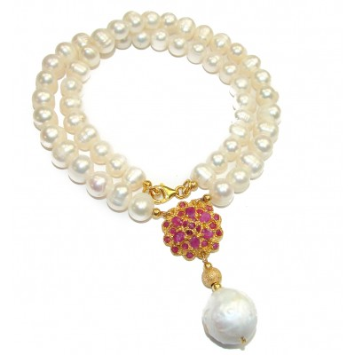 Tsarists heirloom Pearl & Natural Ruby 14K Gold over .925 Sterling Silver handmade Necklace