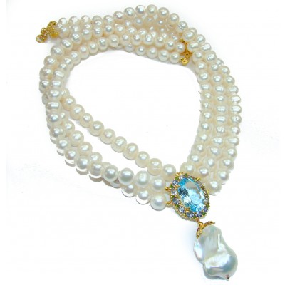 Tsarist heirloom Pearl & Natural Swiss Blue Topaz 14K Gold over .925 Sterling Silver handmade Necklace