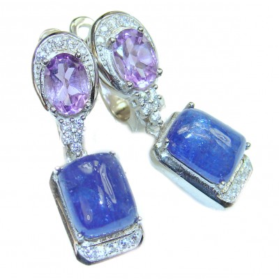 Genuine Tanzanite .925 Sterling Silver handcrafted Earrings