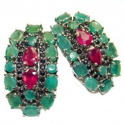 Incredible quality Ruby Emerald .925 Sterling Silver handcrafted LARGE earrings