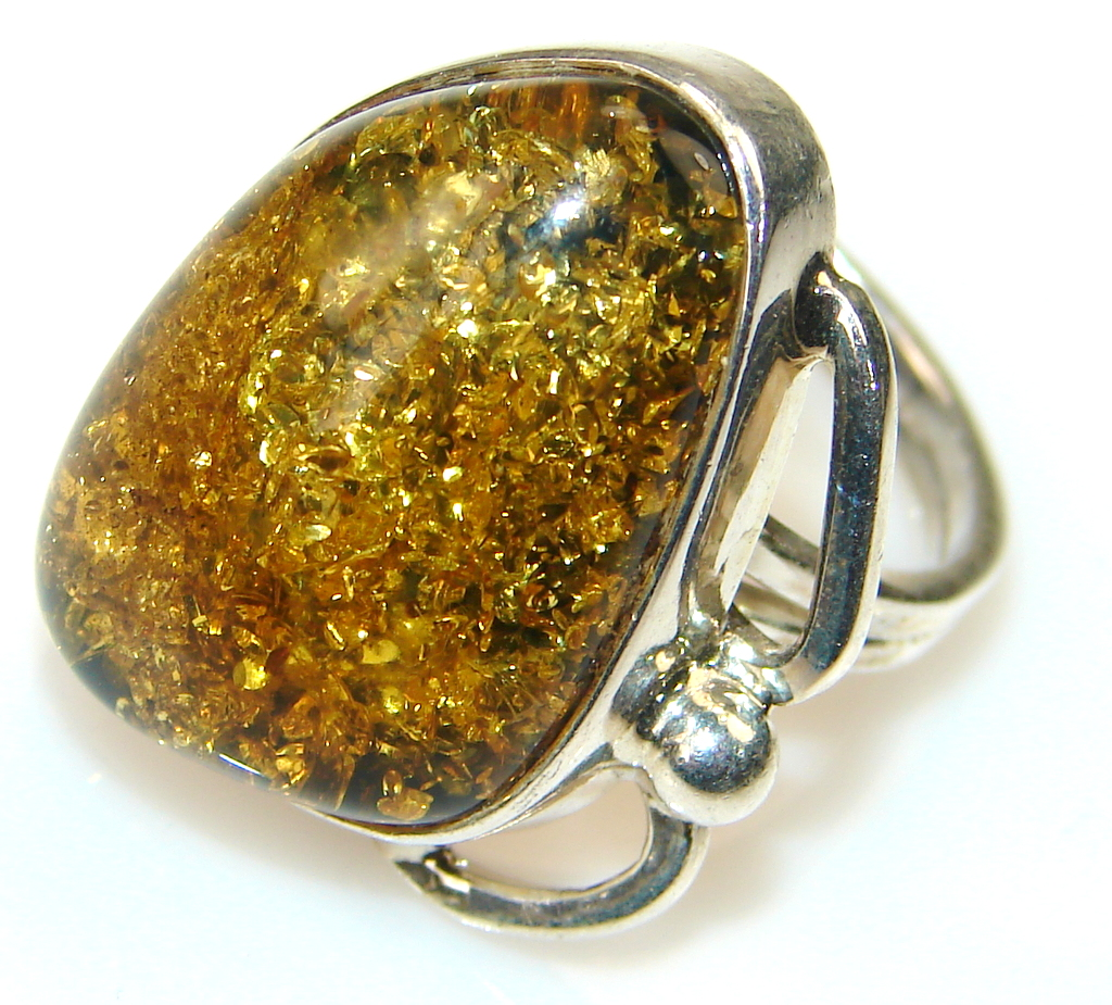 Natural Modern  Amber Sterling Silver ring s. 5 3/4
