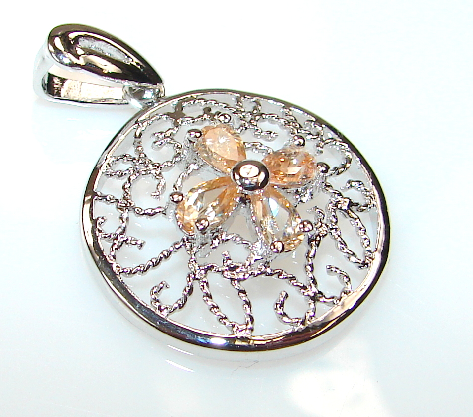 Marvelous Honey Topaz Sterling Silver Pendant