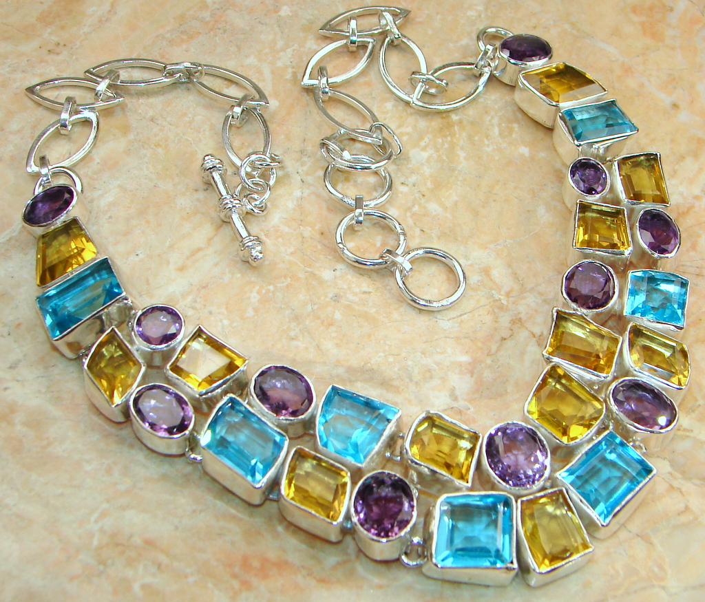 266 cttw.Lab. Quartz & Amethyst Sterling Silver necklace