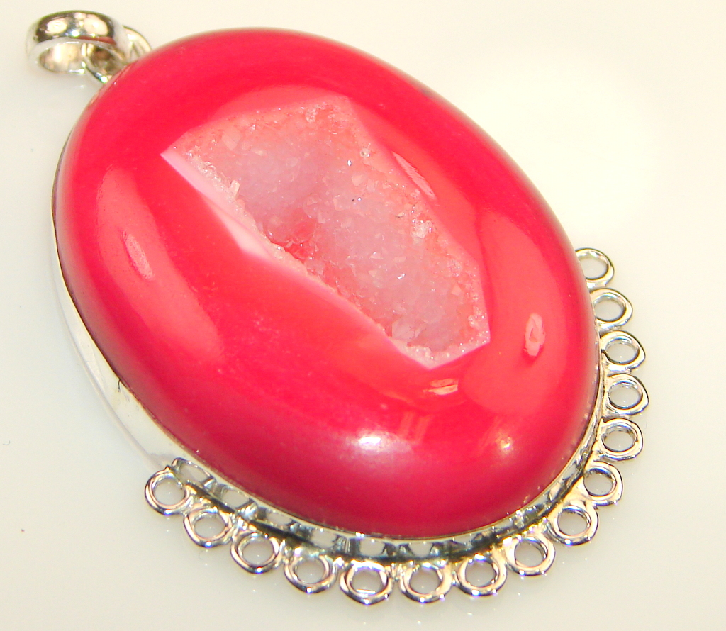 Fancy Design Pink Agate Sterling Silver pendant