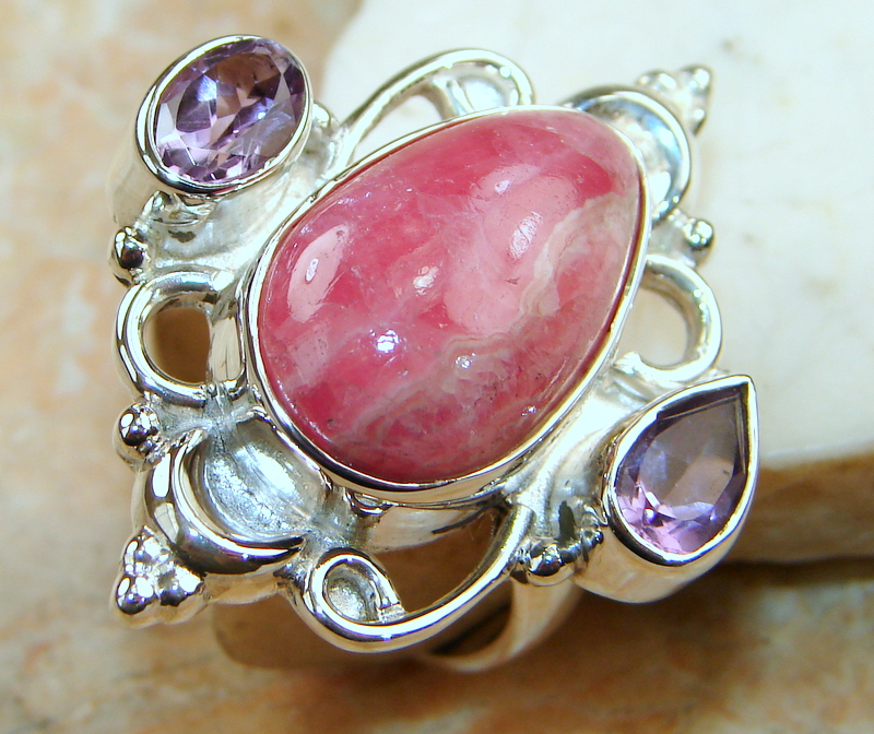 Huge! Beautiful Rhodochrosite Sterling Silver ring s. 9