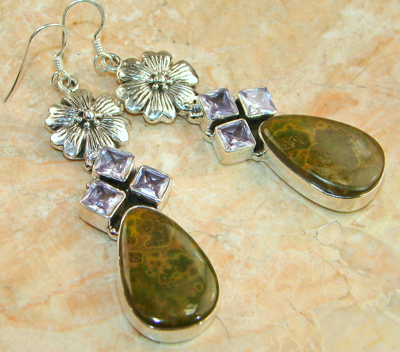 Beauty Twins Rainforest Jasper Sterling Silver earrings