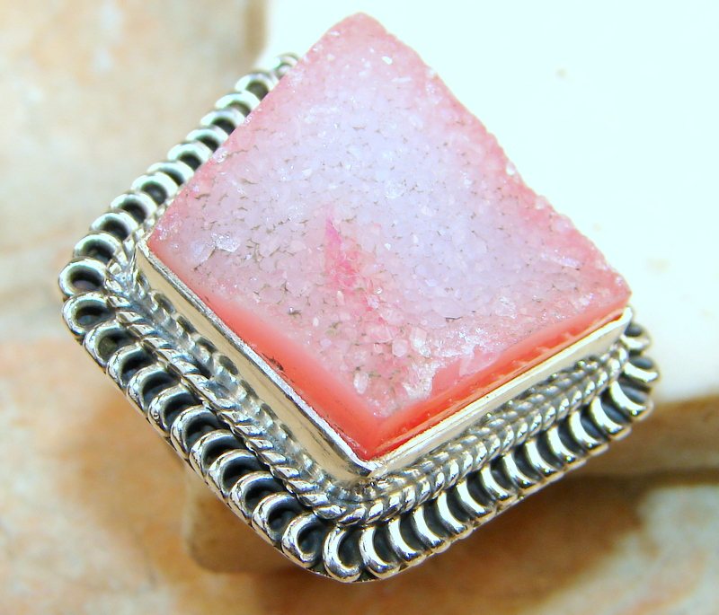 Mesmerizing Agate Druzy Sterling Silver ring s. 7