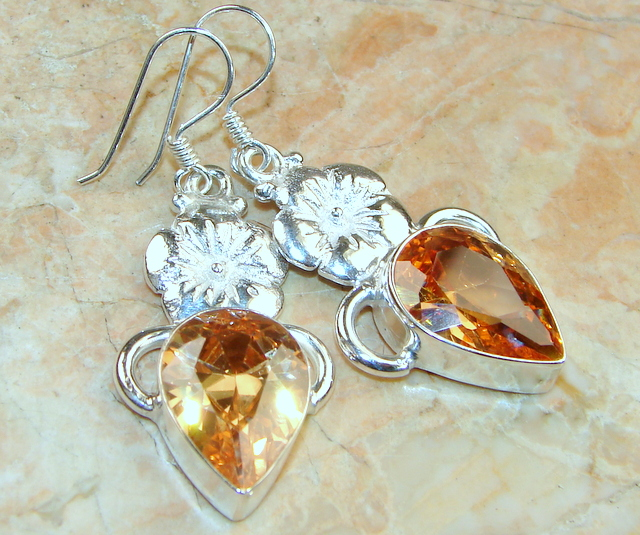 Image of Great Lab. Honey Topaz Sterling Silver Earrings