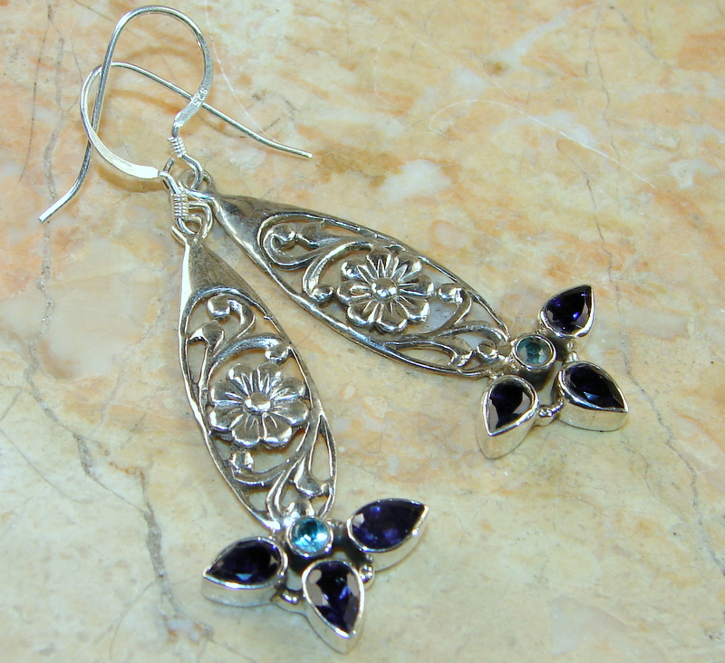 Rare Fancy Style Iolite Sterling Silver earrings