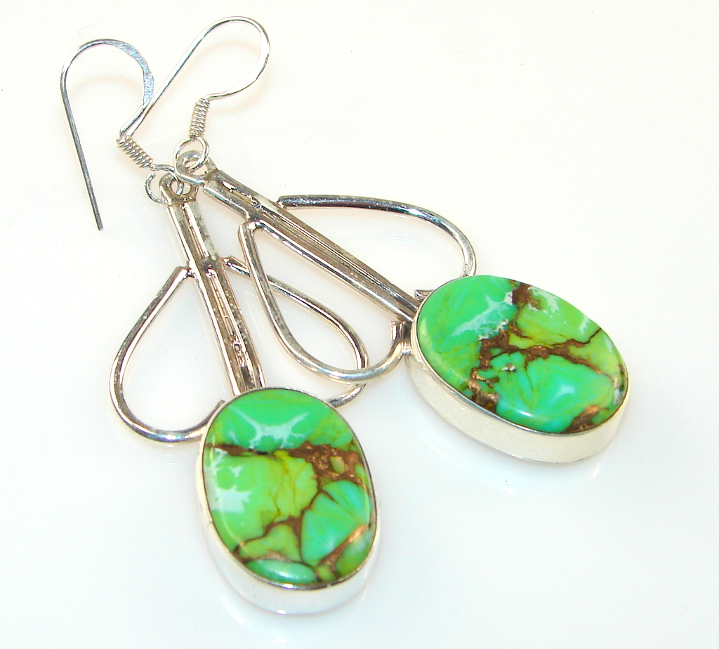 Image of Copper Green Turquoise Silver Sterling earrings