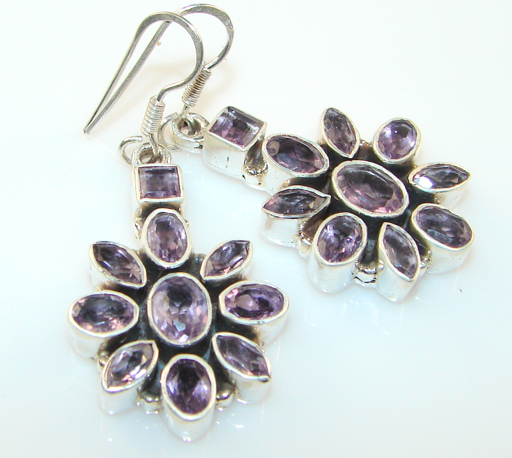 Image of Marvelous Master Piece Amethyst Sterling Silver earrings