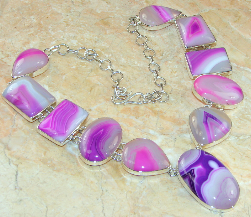 Image of Stuning Nature's Gift Botswana Agate Sterling Silver necklace