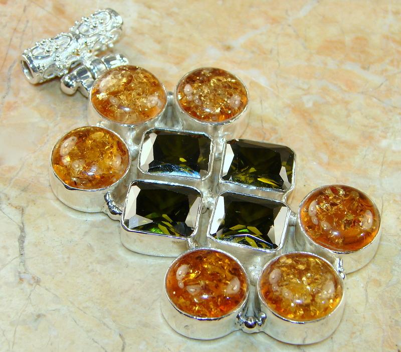 Image of Huge!! Amber & Chrome Quartz Sterling Silver Pendant