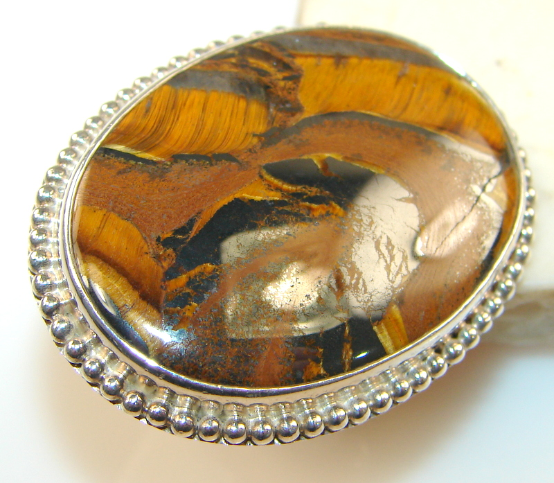 Huge!! Stylish Tigers Eye Sterling Silver Ring s. 6 3/4