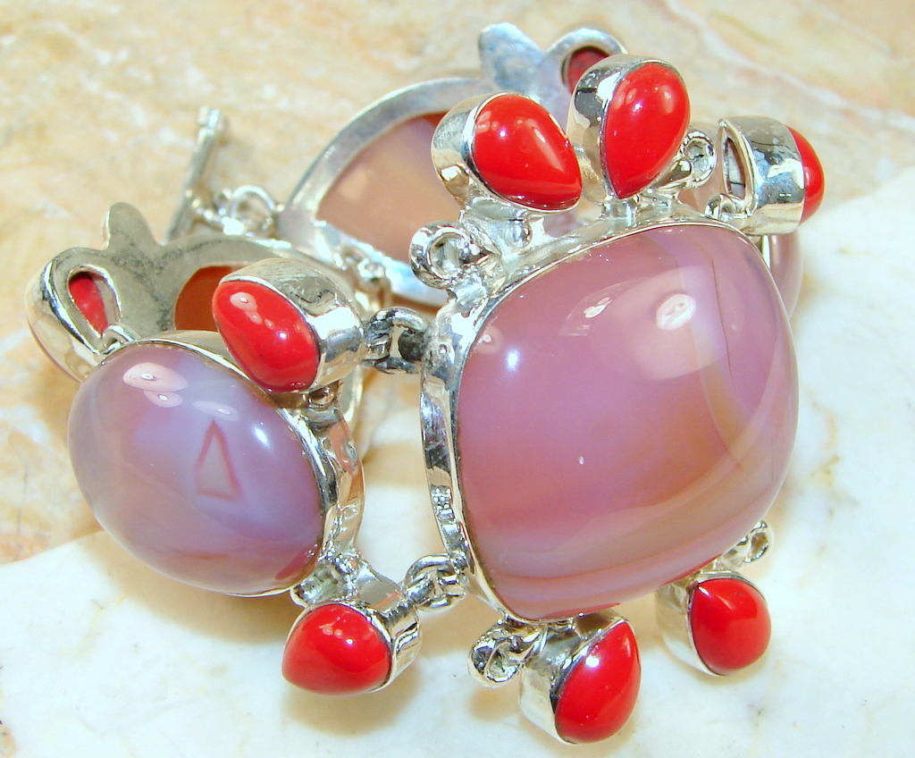 Image of Pink Botswana Agate Sterling Silver Bracelet