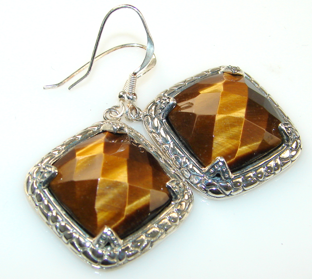 Image of Unique Look Of A Tiger Eye Sterling Silver earrings